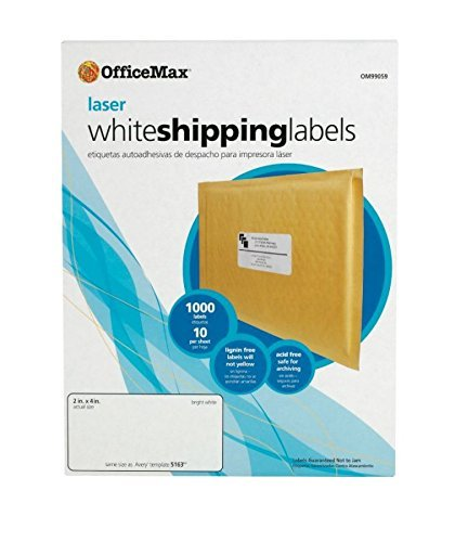 (OfficeMax White Laser Address Labels, 2