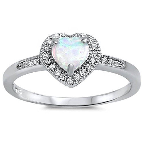 Lab Created White Opal Heart & Cz Promise .925 Sterling Silver Ring Size - Promise Created Diamond Heart Ring