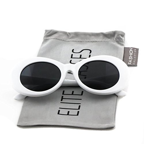 Elite NIRVANA Kurt Cobain Oval Bold Vintage Sunglasses For Women Men Eyewear (White-Black, - With Kurt Cobain Sunglasses