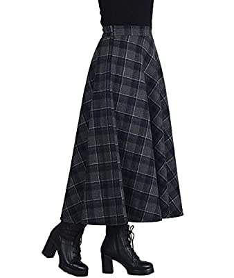 Femirah Women's Autumn Winter Long Maxi Woolen Skirt