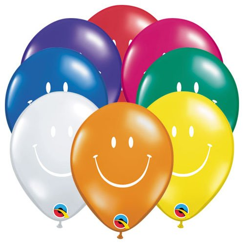 Qualatex Latex Balloons 38968-Q Smile Face - Jewel Assortment 5