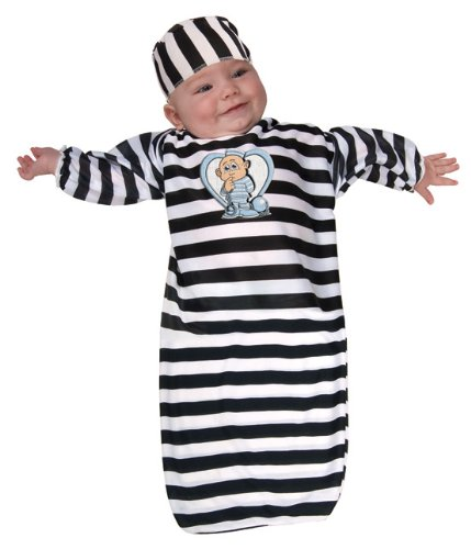 [Rubie's Costume Tyke Or Treat Baby Bunting Costume Cute Little Convict, Convict Blue, 0-9 Months] (Ghost Baby Halloween Costume)