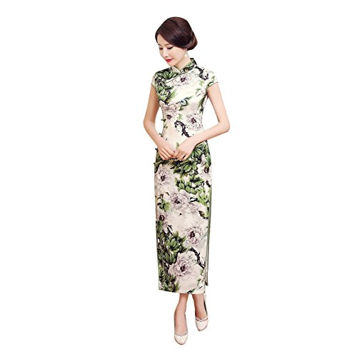 flores de largo estampado Qipao Vestido de seda Acvip Cheongsam corta imitaci de Manga estilo de chino 4fPqUAn6
