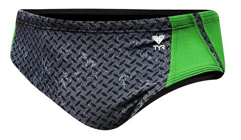 TYR Men's Viper Racer Swimsuit, Green, Size 34 by TYR