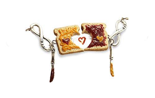 (Peanut Butter & Jelly Bracelets, Set of 2 ~ Personalized Friendship Bracelets ~ Best Friends Food Jewelry)