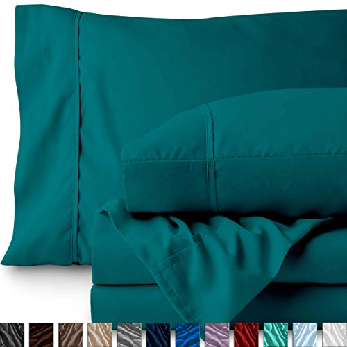 Bare Home Queen Sheet Set - 1800 Ultra-Soft Microfiber Bed Sheets - Double Brushed Breathable Bedding - Hypoallergenic - Wrinkle Resistant - Deep Pocket (Queen, Emerald) (Sheet Teal)