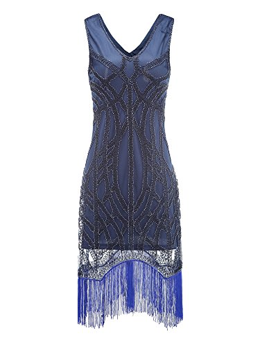 Litluxe Women's 1920s Gatsby Charleston Downton Art Deco Beads Fringed Cocktail Flapper Dress (M, (Buy Flapper Dresses)