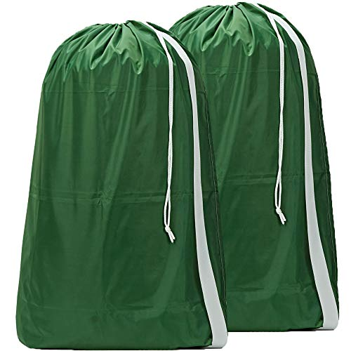 HOMEST 2 Pack Nylon Laundry Bag with Strap, 28 x 40 Inches Rip-Stop Travel Dirty Clothes Shoulder Bag with Drawstring, Large Hamper Liner, Machine Washable, Dark Green