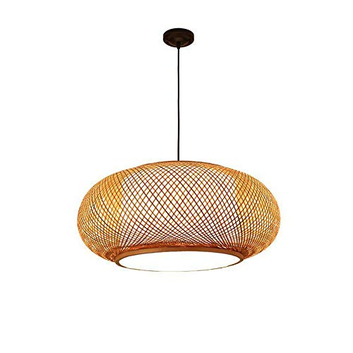 RUNNUP Vintage Bamboo Woven Light Creative Chandeliers Decoration Chandelier Pendant Light Wicker Light with Fixtures Bird cage Shade 1 Light for Dinging Room, Farmhouse, Beige 23.62 inch (Creative Pendant)