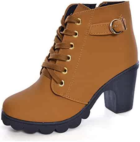 64af39a5f3f26 Womens Ankle Boots Lace Up High Heel Comfort Fashion Buckle Martin Boots  Autumn Winter Womens Shoes