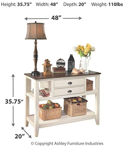 Farmhouse Buffet Sideboards Signature Design by Ashley Whitesburg Dining Room Server, Brown/Cottage White farmhouse buffet sideboards