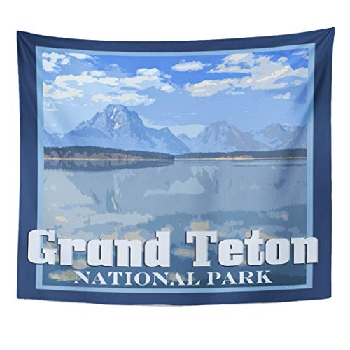 Semtomn Tapestry Artwork Wall Hanging Nature Grand Teton National Park Mountains Landscape Souvenir Outdoors 50x60 Inches Home Decor Tapestries Mattress Tablecloth Curtain Print]()