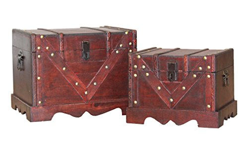 Set of 2 Wooden Treasure Box, Old Style Decorative Treasure Chest with Lockable Latch by Vintiquewise
