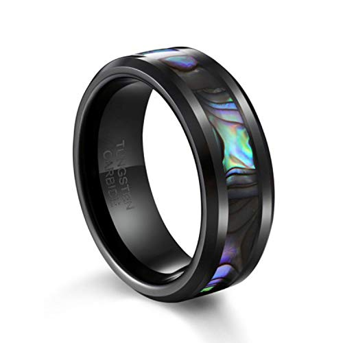TUSEN JEWELRY 8mm Tungsten Wedding Band Natural Abalone Shell Inlay Black Tungsten Carbide Ring Size 10 ()