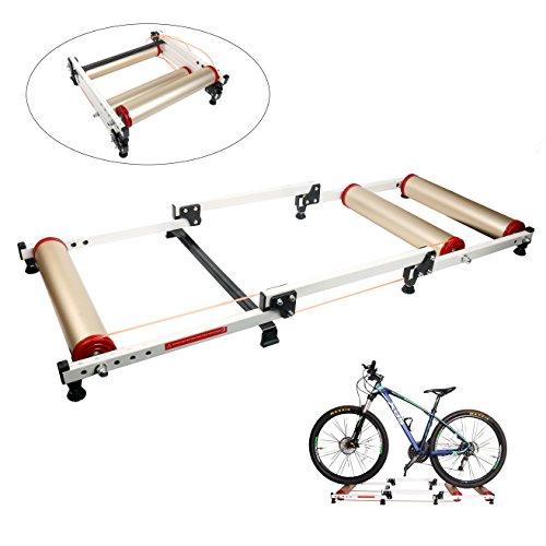 Yaegoo Foldable Indoor Bike Rollers for Exercise, Bike Resistance Trainers Parabolic roller drum profile