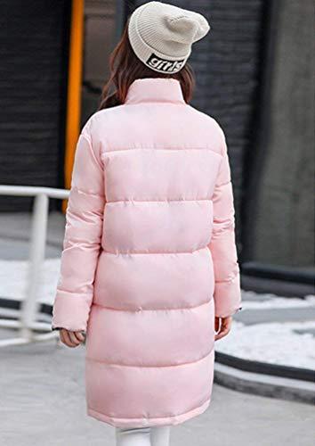 Fit Collo Comodo Piumini Invernali Donna Giovane Tasche Alto Giacca Elegante Cerniera Cappotti Piumino Laterali Con Cappotto Trapuntata Manica Autunno Lunga Moda Pink Morbidi A Slim xv1vqAI
