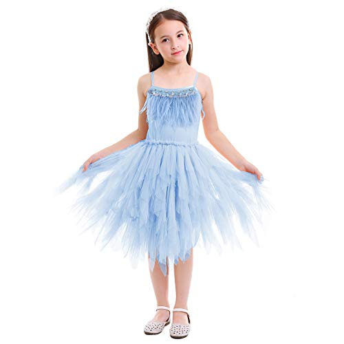 (IBTOM CASTLE Little/Big Girls Sequins Feather Fringes Layered Ruffled Flower Girl Birthday Party Easter Pageant Tutu Dress Short Tiered Gown Light Blue 6-7 Years )
