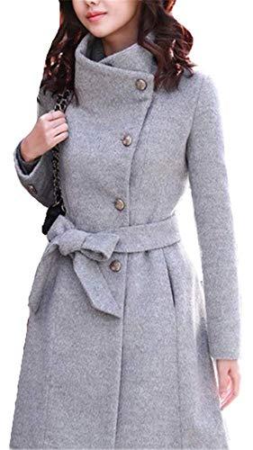 Ceinture Élégant Chaud Laine Avec Outwear Winter Slim Blouson Yogly Femme Coats Veste Parka Hiver Une En Gris RZEw5q