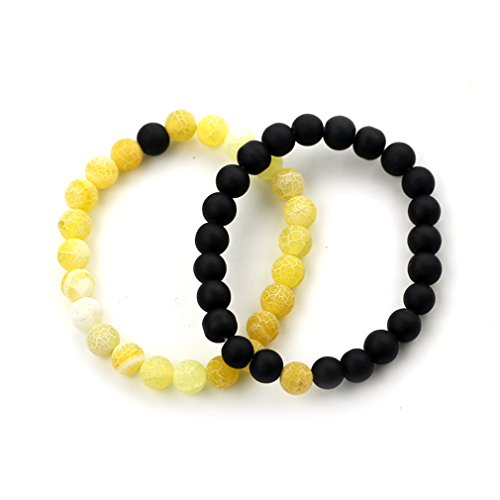Black Matte Agate & Colorful Weathering Scrub Agate 8mm Beads Couples His and Hers Bracelet For XIAOLI (Yellow and Black) from XIAOLI