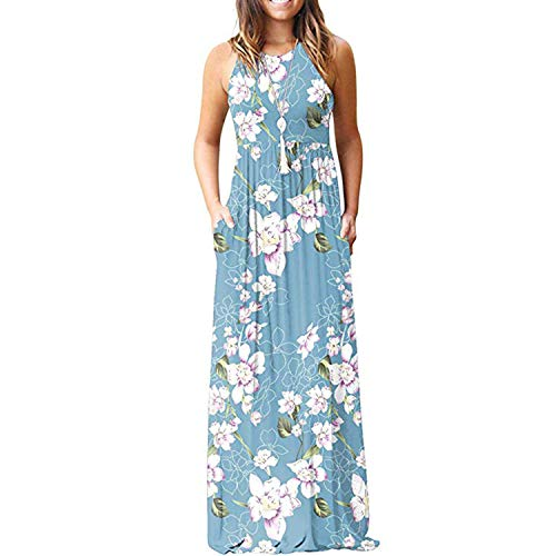 Maxi Dresses for Womens Sleeveless Casual Summer Floral Maxi Dress with Pockets Light Blue
