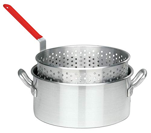 (Bayou Classic 10 Quart Aluminum Fry Pot and Basket with Cool Touch Handle)