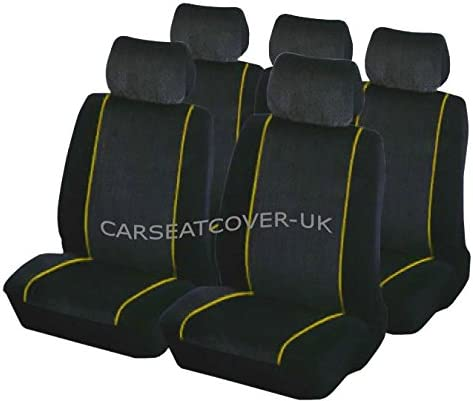 Carseatcover-UK XYELLOWPIPFS101 Luxury Black /& Yellow Car Seat Covers Full Set
