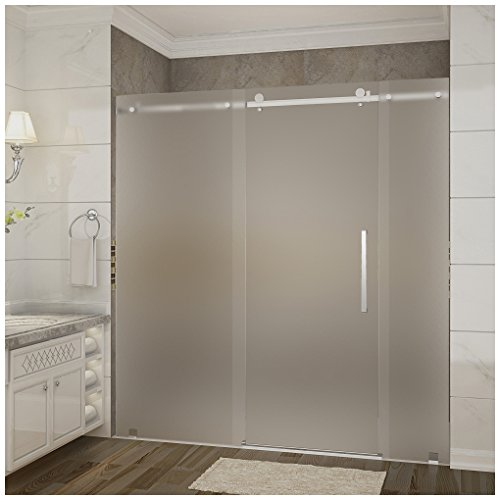 Aston moselle frameless frosted glass sliding shower door chrome aston moselle frameless frosted glass sliding shower door chrome finish with base and right drain amazon planetlyrics Images