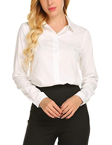 - SE MIU Women's Chiffon Long Sleeve Polka Dot Office Button Down Blouse Shirt Tops