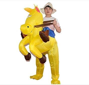 Amazon.com: Disfraz hinchable de caballo amarillo para ...