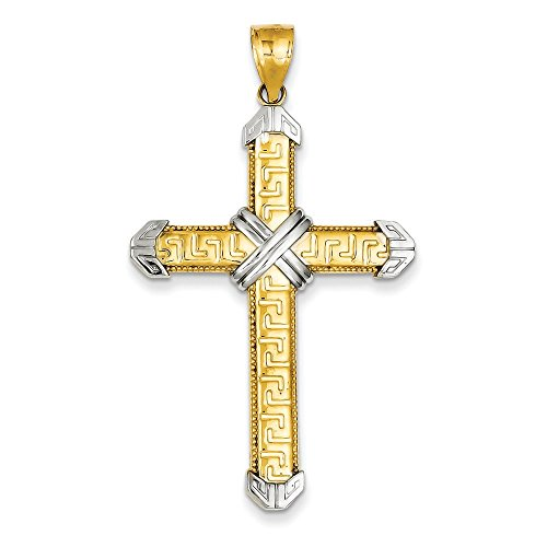 14K Two-tone Gold Greek Key Design Latin Cross Charm Pendant