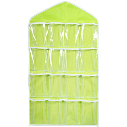 Wall Hanging Storage Bag,IEason 16Pockets Clear Hanging Bag Socks Bra Underwear Rack Hanger Storage Organizer (Green)