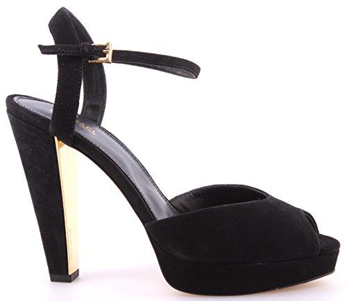 Scarpe Sandali Tacco Donna MICHAEL KORS Claire Sandal Suede Black Dress Nere New