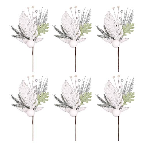 Valery Madelyn 6 Packs Silver White Christmas Picks with Christmas Balls and lcicle Artificial Picks for Christmas Decorations and Home Decor