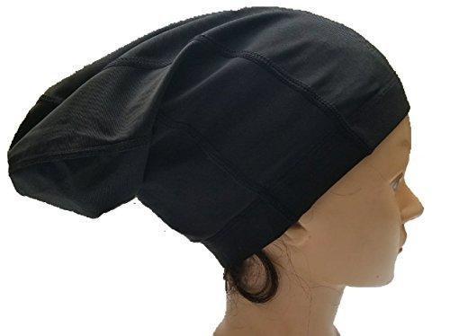 (FIREBUN Long Spandex Skull Biker Football Helmet Liner Sports Dreadlock Cap Black)