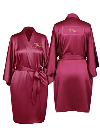 AW Womens Premium Satin Robe Short V-Neck Soft Lightweight Bathrobe Sleepwear Monogrammed, Burgundy, - Satin Monogrammed
