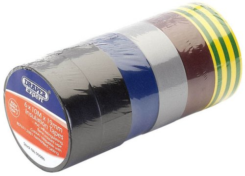 Draper 90086 6-Pack Mixed Colour Isulation Tape to BS EN60454 (10 m x 19 mm) Draper Tools