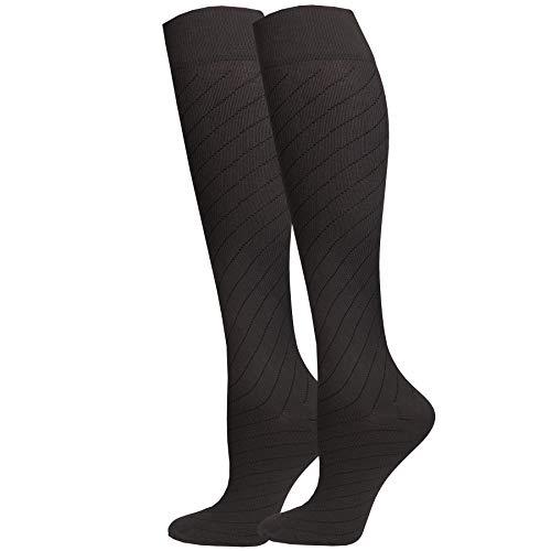 NuVein Airplane Travel Socks for Women & Men Flight Circulation Socks for Swelling, Charcoal, Medium