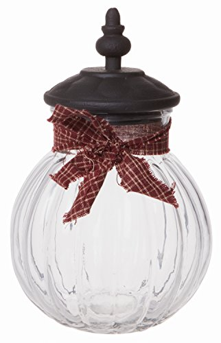 Round Clear Vintage Lidded Glass Candy Jar, Decorative Centerpiece Storage Container Solution, Small, 8-inch
