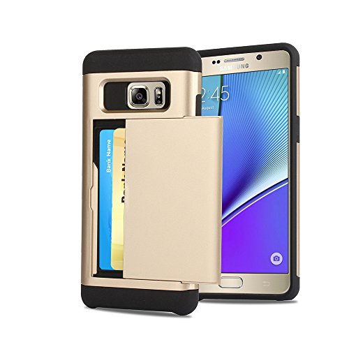 Galaxy Note 5 Case, CaseTop [Easy 2 Card Access] Sliding Back Door Card Holder Wallet Case - Hybrid TPU PC Cover - For Samsung Galaxy Note 5, Gold
