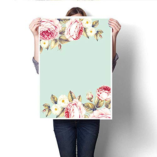 Anshesix The Picture for Home Decoration Bouquet of Rose Invitation Card for Wedding Birthday and Other Holiday and Summer Background Botanical Illustration Canvas Art Posters Prints Wall Art 32
