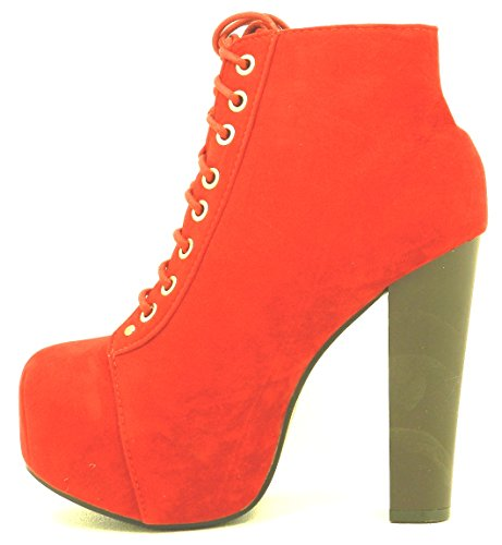New Womens Lace up Bootie High Heel Platform Party Dressy Shoes Boots Red DZ38Emy