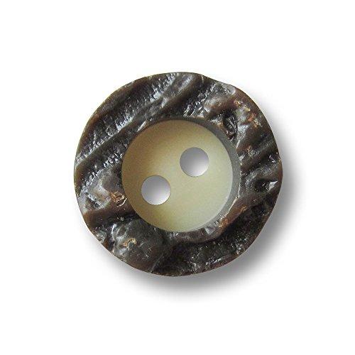 Knopfparadies - 10er Set kleine urige Zweiloch Trachten Blusen oder Hemden Kunststoff Knöpfe in Hirschhorn Optik mit hohem, stark strukturiertem Rand / beige, braun, tw. glänzend / Kunststoffknöpfe / Ø ca. 15mm