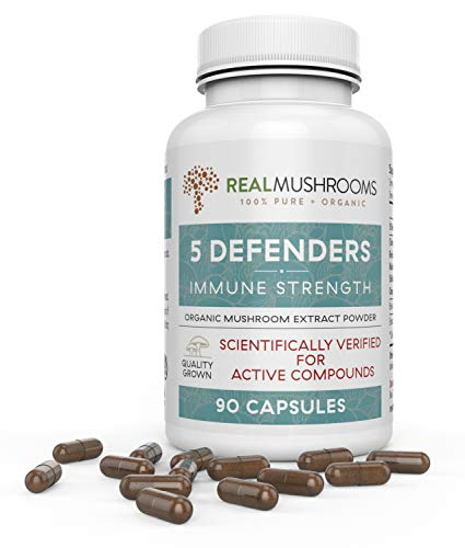 (5 Defenders Organic Mushroom Extract Blend by Real Mushrooms - 90 Capsules - Chaga, Reishi, Shiitake, Maitake and Turkey Tail Mushroom Powder - Immune Defense )