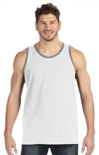 Anvil Men's Tubular Construction Tank Top, White/ Heather Grey, XX-Large (Anvil Mens Tank Top)