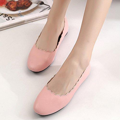 Mee Shoes Damen flach mit Borte bequem Ballettschuhe Pink