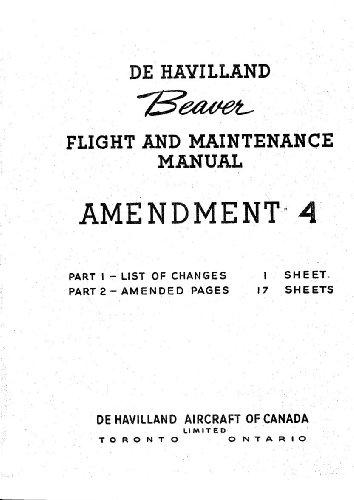 De Havilland DHC-2 Beaver Aircraft Flight & Maintenance Manual - (English Language)