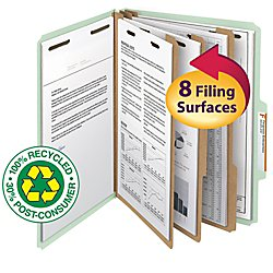 Smead 100% Recycled Pressboard Classification File Folder, 3 Dividers, 3'' Expansion, Letter Size, Gray/Green, 10 per Box (14093)
