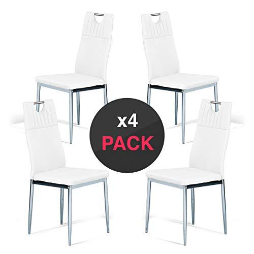 dicoro Pack 4 sillas de Comedor y Cocina Nina 4 Patas cromadas Piel sintética Blanco