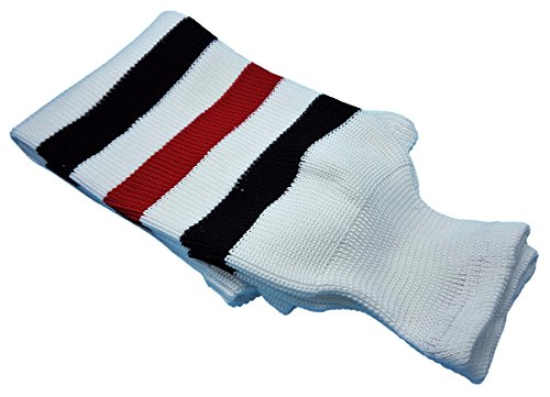 Hockey Socks Knit Made in Canada for Hockey Players (Senior 32, 7 White w/ Red/Black)
