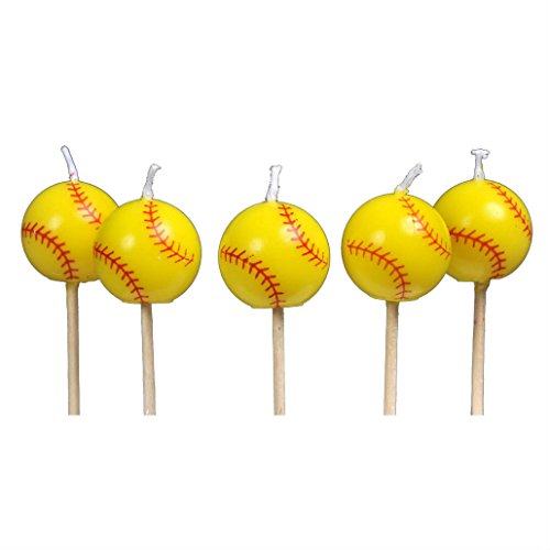 5 Girl's Fastpitch Softball Baseball Sports Birthday Party Cake Candles by Unknown